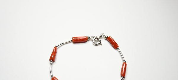 coral and silver clasp