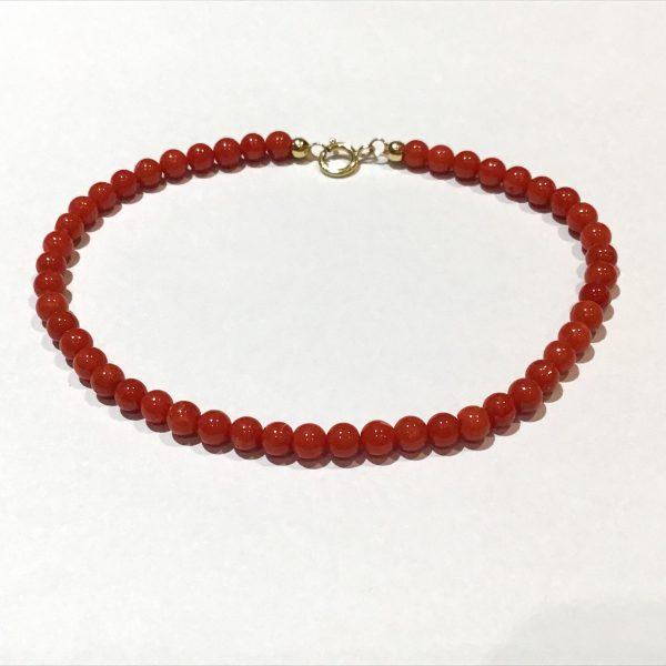 Bracelet perles corail 4 mm